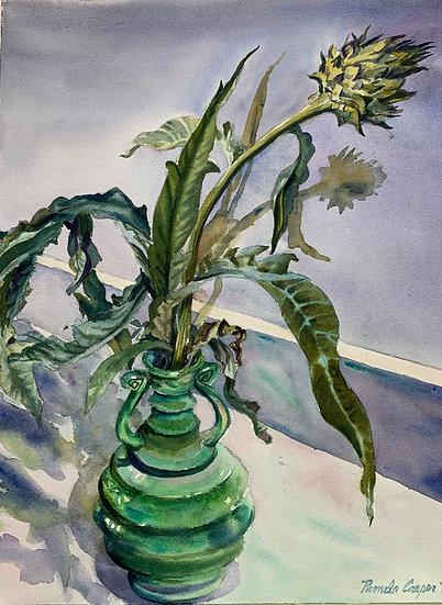 Cardoon in Green Vase