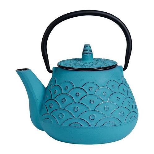 Théière fonte -Vagues 1L- bleue turquoise