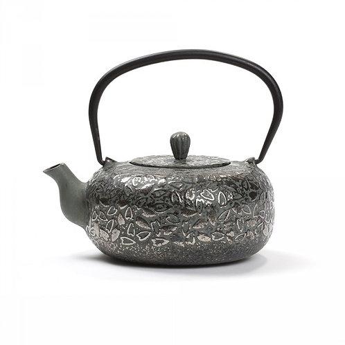 Théière fonte de Chine -Ombrage 0,8L- vert de gris & argent