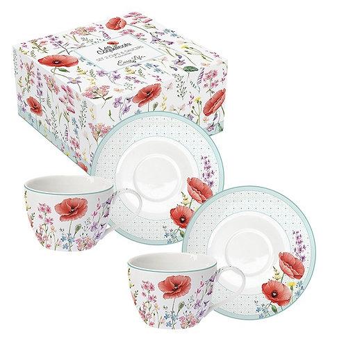 Coquelicots - Coffret 2 tasses à thé