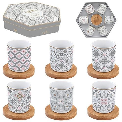 Tiles Grey set 6 tasses à café