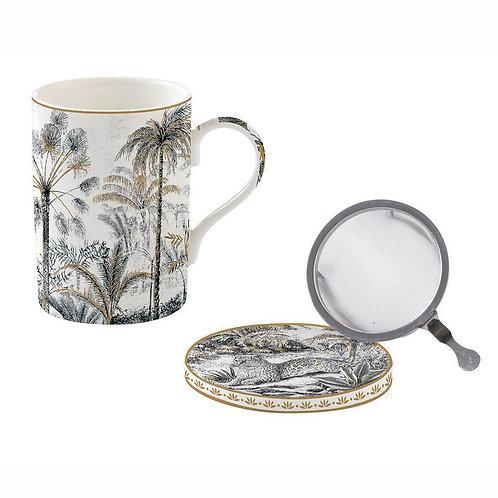 Retro Jungle tisanière porcelaine