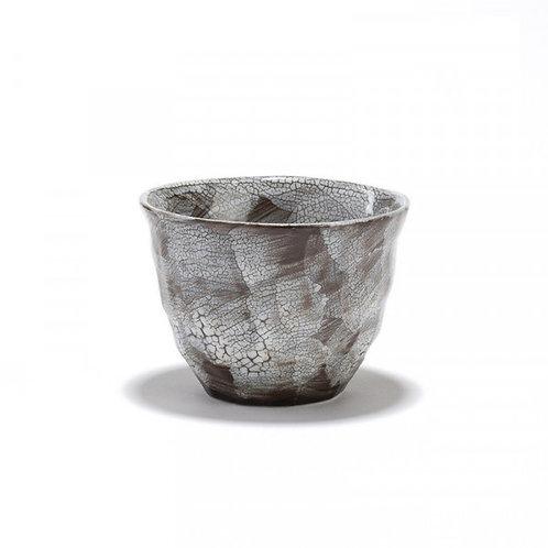 Rivage - Bol à thé gris - porcelaine craquelée