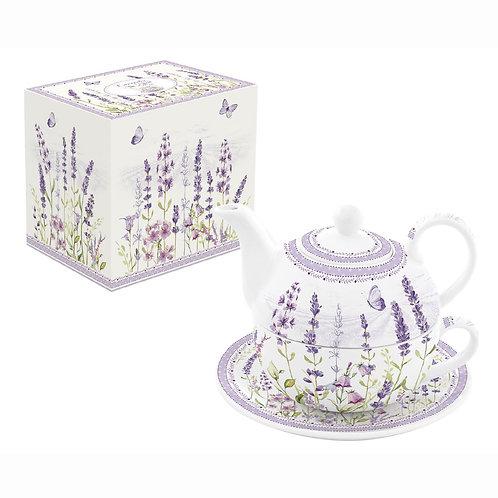 Lavender Field - Théière égoïste en porcelaine