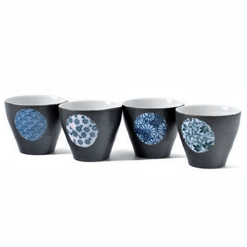 Rond Bleu - Coffret 4 bols à thé