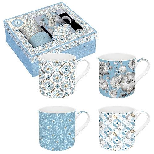 Coffret 4 mugs - Bleu