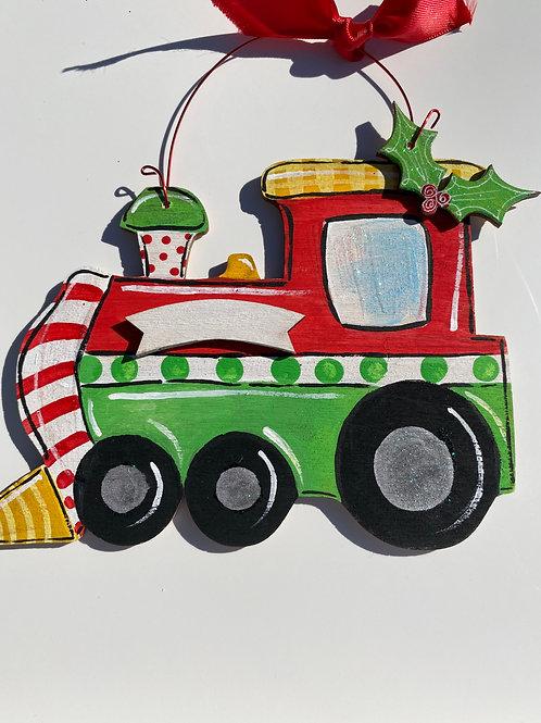 Train wooden ornament