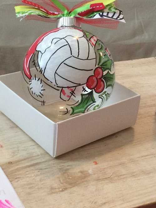 Glass Volleyball Ornament