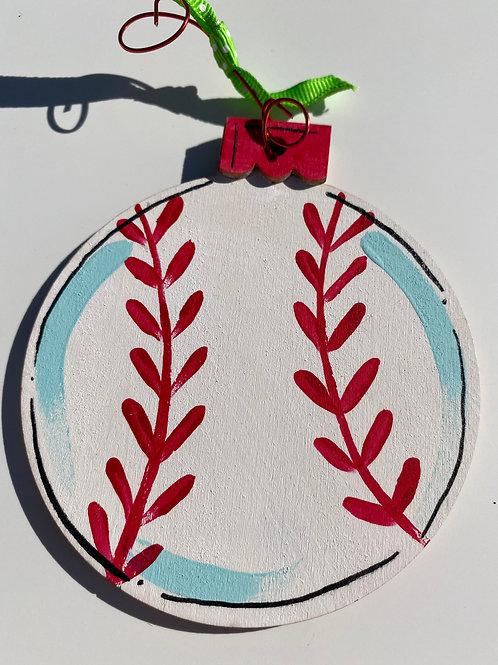 Baseball wooden ornament