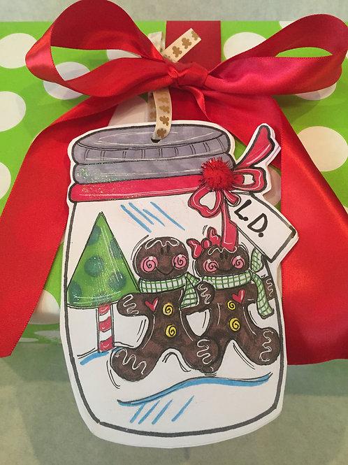 Mason Jar Ginger bread ornament/Package Tag