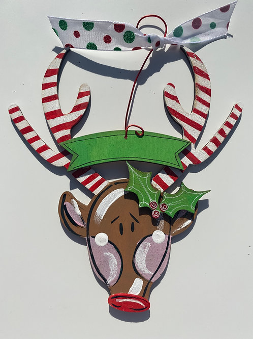 Reindeer Head Wooden Ornament