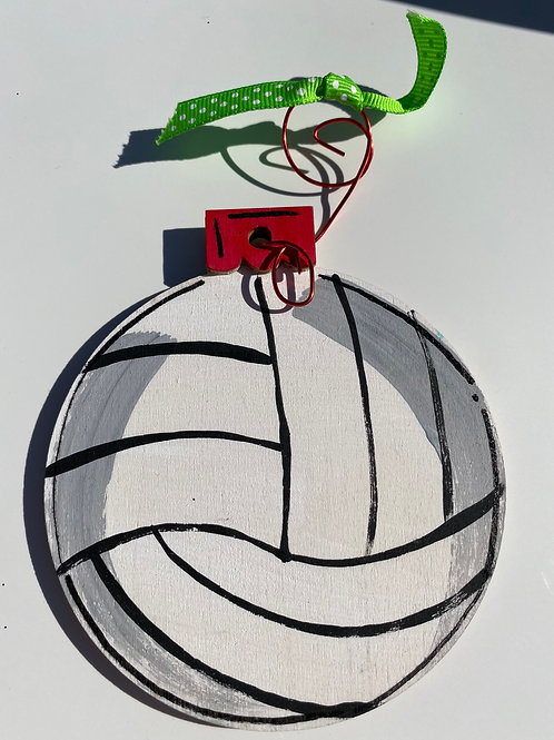 Volleyball wooden ornament