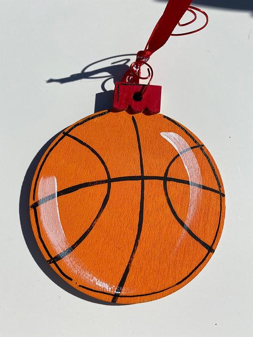 Basketball wooden ornament