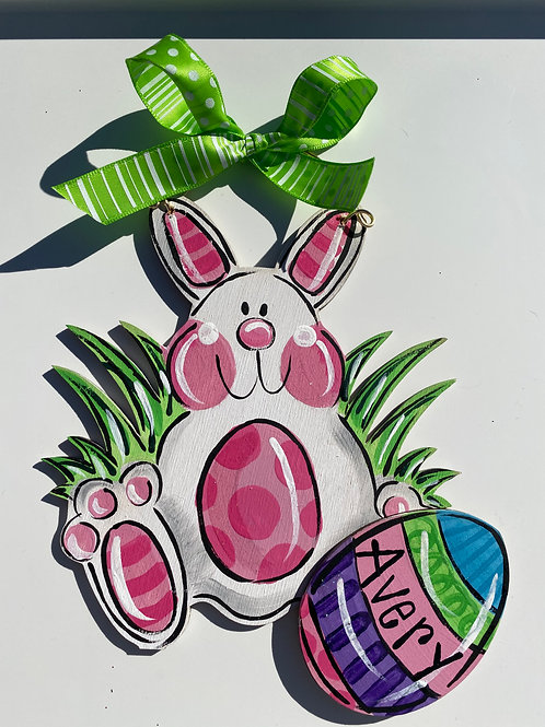 Easter Rabbit with Egg Wooden Ornament