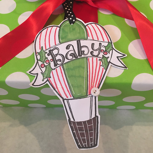 Baby Balloon Paper ornament/Package Tag