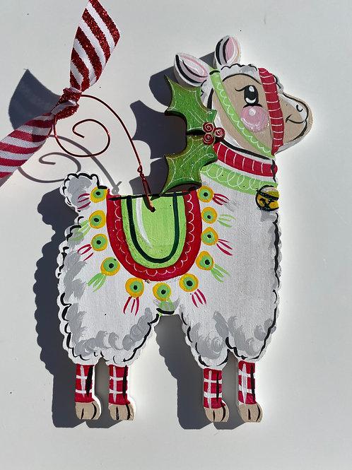 Llama wooden ornament