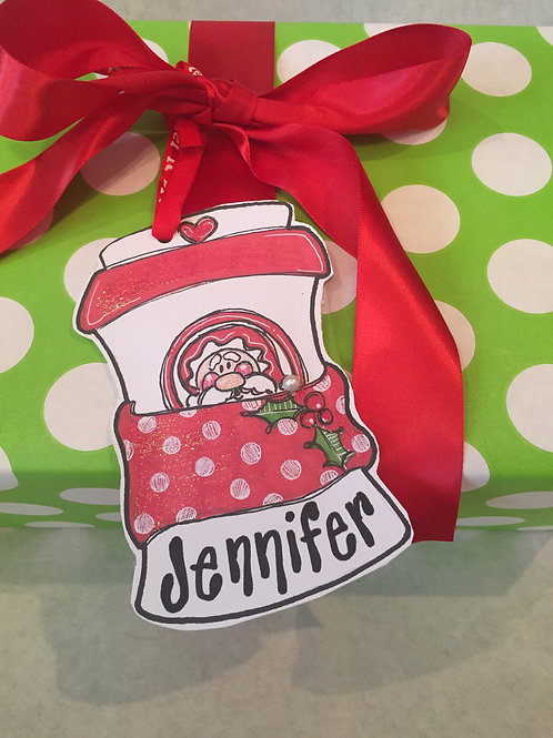 Santa Coffee ornament/Package Tag