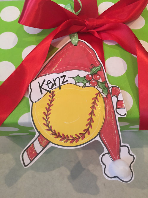 Softball Paper ornament/Package Tag