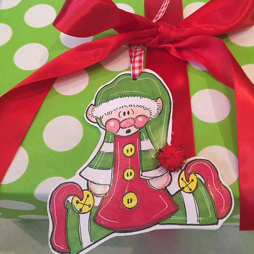 Elf Paper ornament/Package Tag