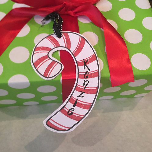Candy Cane Paper ornament/Package Tag