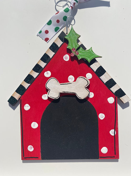 Dog House Wooden Ornament