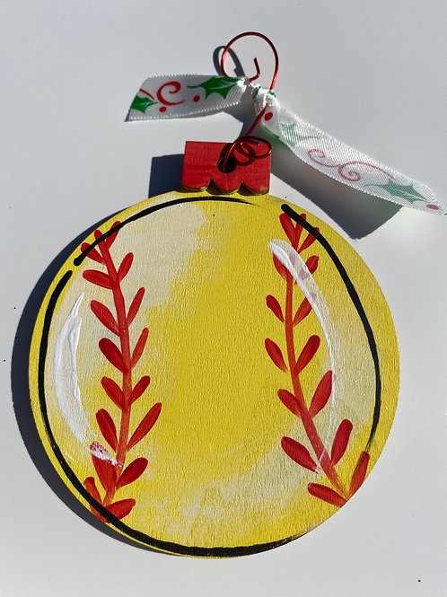 Softball wooden ornament