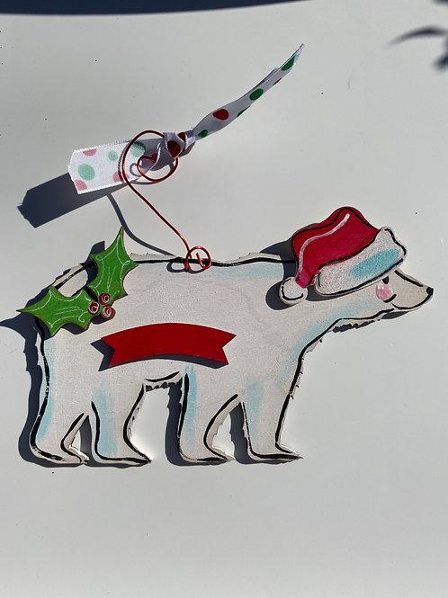 Polar bear wooden ornament