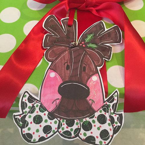 Reindeer Paper ornament/Package Tag