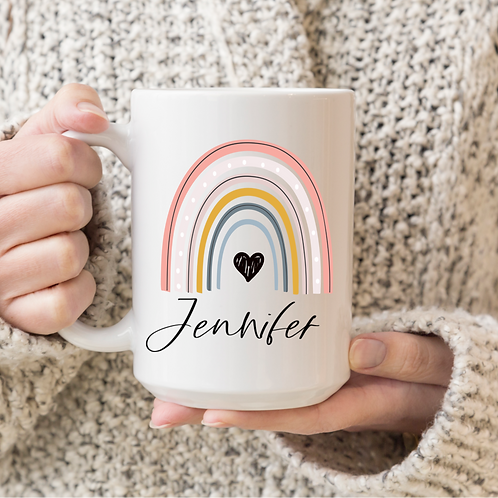 Personalized name rainbow mug