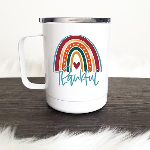 Thankful rainbow travel mug