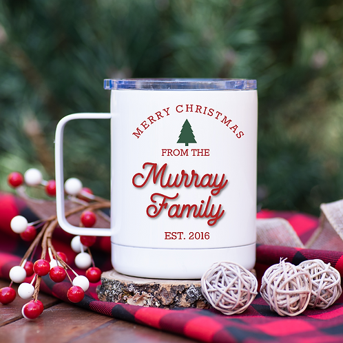 Family Christmas travel mug