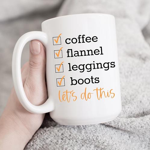 Coffee, flannel, leggings, boots