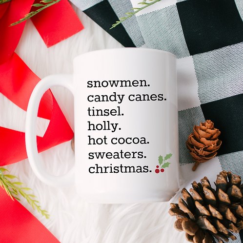 Snowmen. candy canes. tinsel.
