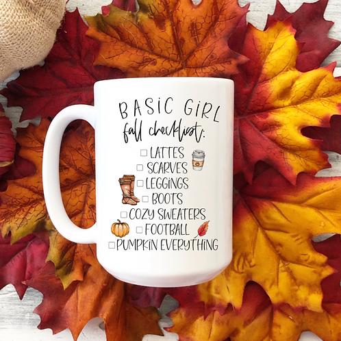 Basic girl fall checklist