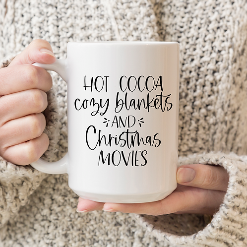 Hot cocoa cozy blankets Christmas movies