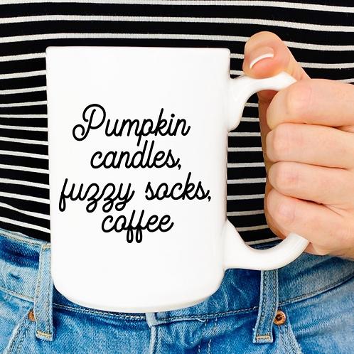 Pumpkin candles, fuzzy socks, coffee