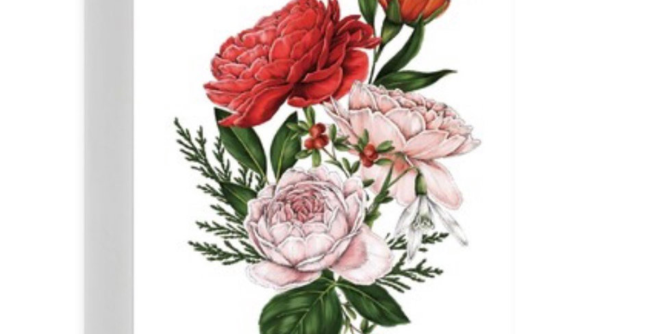 Merry Christmas white floral quality card