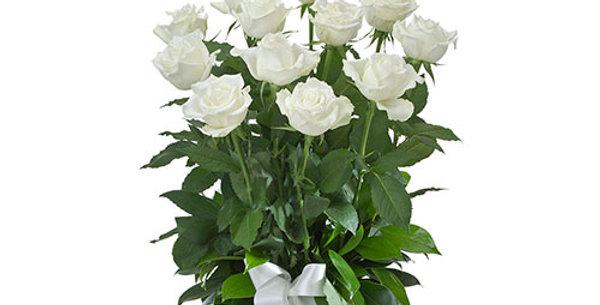 dozen colored rose arrangement