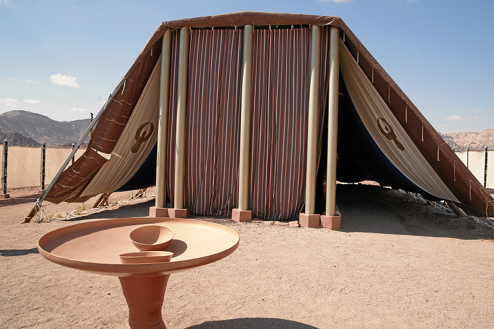 The front view of a model of the tabernacle that the Israelites used in the desert on their journey from Egypt to the Promised Land.