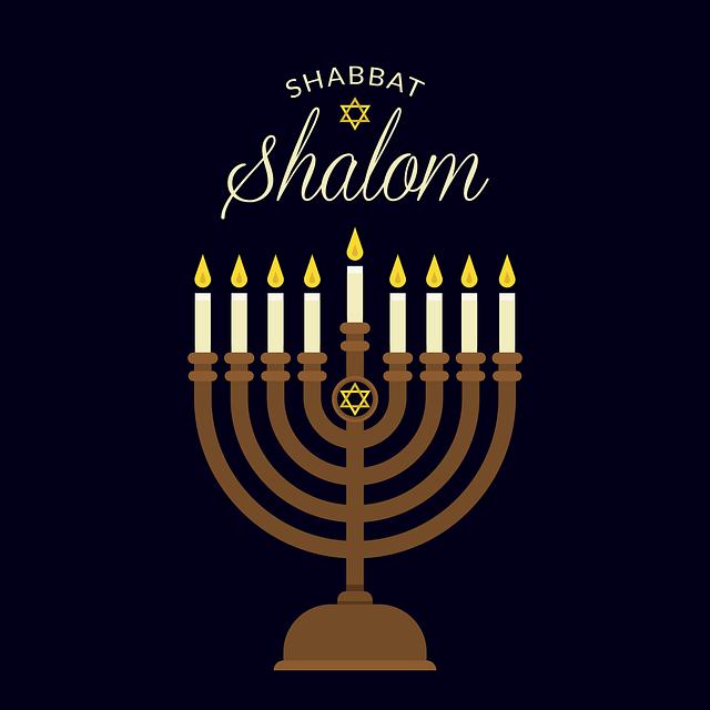 "The menorah, the symbol of the Sabbath and the greeting ""Shabbat Shalom"" (Happy Sabbath)."
