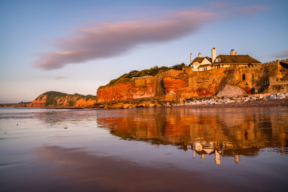 AR32674 Morning reflections on Sidmouth Beach