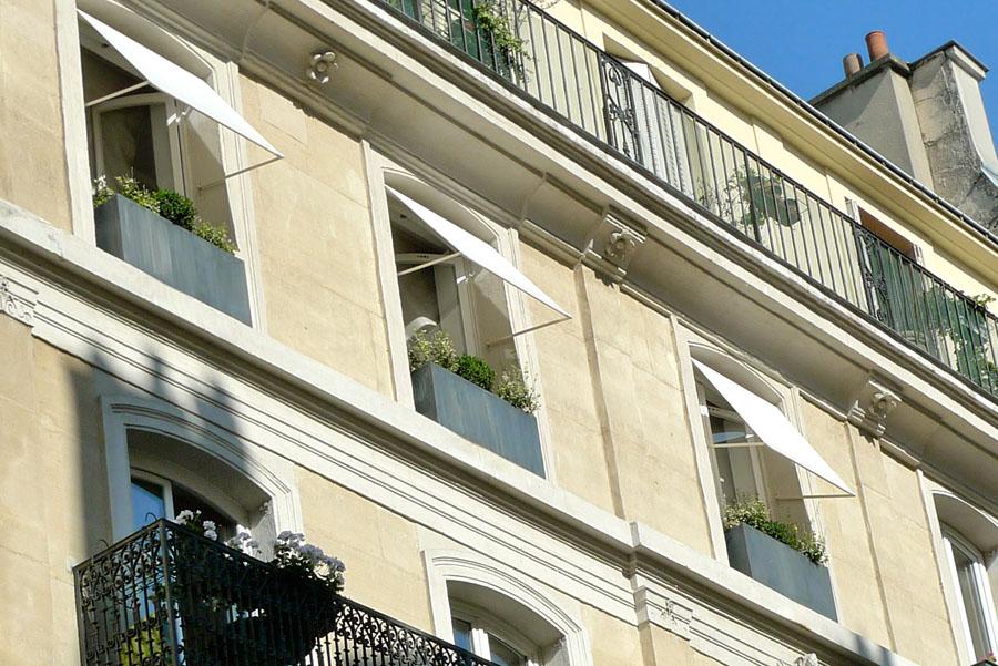 Jardinière zinc - titan en façade