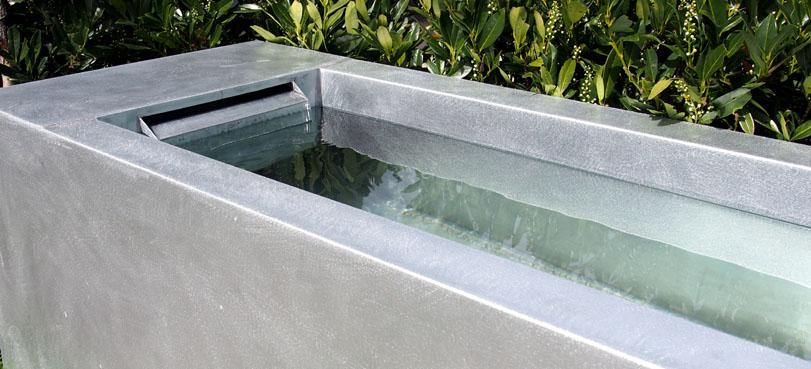 Fontaine Bassin zinc naturel