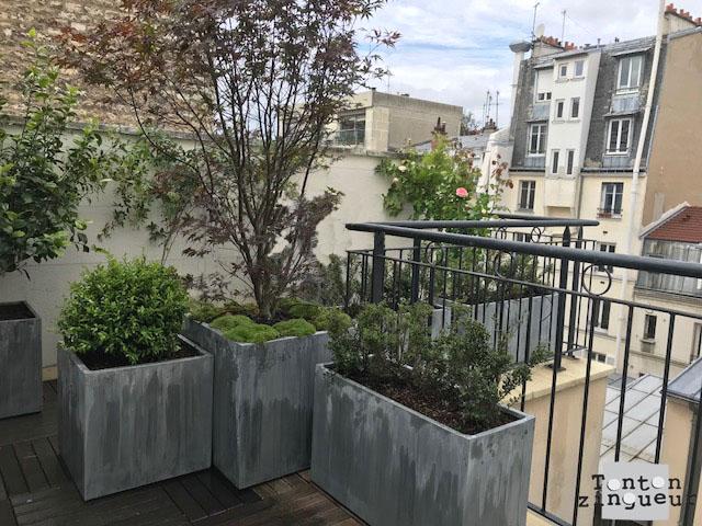 Jardinière zinc - titan patiné