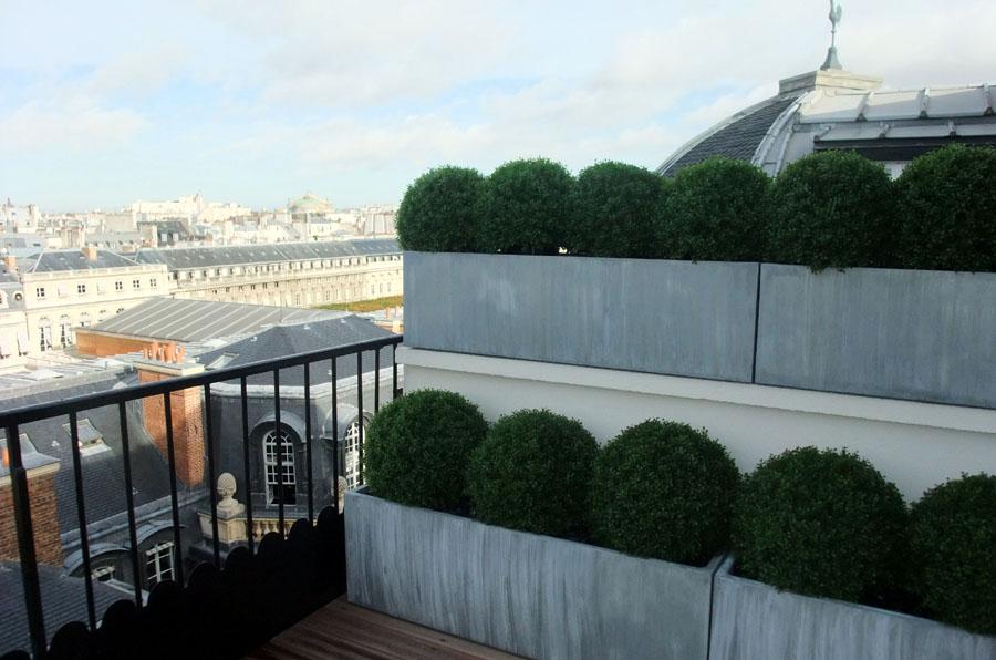 Jardinière Zinc sur terrasse
