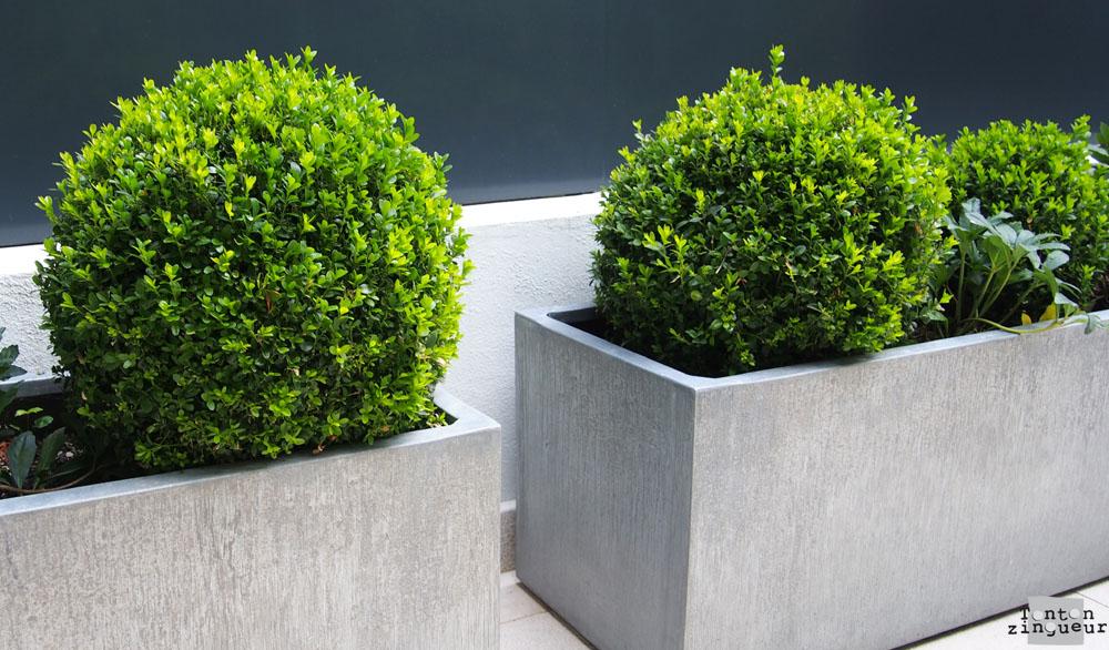 Jardinière zinc - titan  naturel
