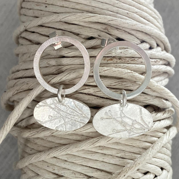 ETCHED GRASSES STERLING SILVER EARRINGS £80 + p&p