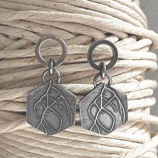 OXIDISED AND ETCHED FENNEL STERLING SILVER EARRINGS £80 + p&p