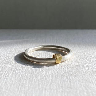 STERLING SILVER HALO RING WITH 18CT GOLD ROLLED DETAIL £90 + P&P