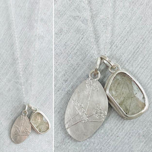 SOLD - RUTILATED QUARTZ AND FENNEL ETCHING TWO ELEMENT NECKLACE £100 + p&p